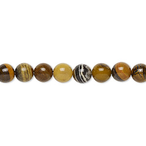 bead, tiger iron and tiger zebra iron (natural), 6mm round, b grade, mohs hardness 7. sold per 16-inch strand.