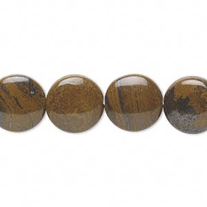 bead, tiger iron (natural), 12mm flat round, b grade, mohs hardness 7. sold per 16-inch strand.