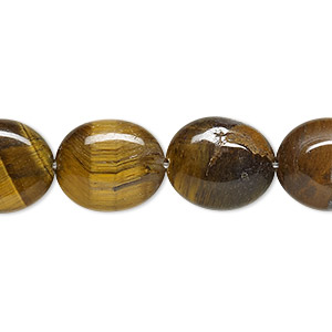 bead, tigereye (natural), 14x12mm flat oval, b grade, mohs hardness 7. sold per 16-inch strand.