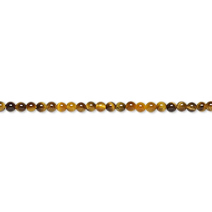 bead, tigereye (natural), 2mm round, b grade, mohs hardness 7. sold per 16-inch strand.