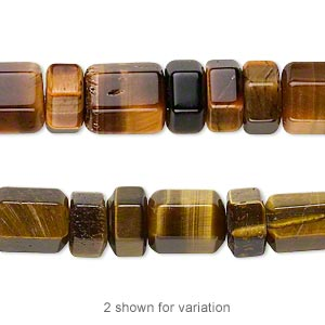 bead, tigereye (natural), 5.5x4mm-7.5x6mm hexagon rondelle and 9x5.5mm-10.5x7mm graduated hexagon tube, b grade, mohs hardness 7. sold per 18-inch strand.
