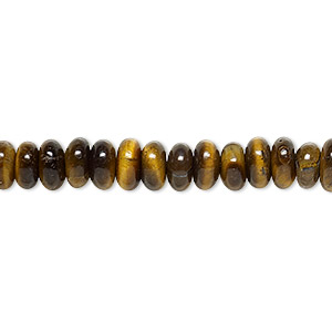 bead, tigereye (natural), 6x3mm rondelle, b grade, mohs hardness 7. sold per 16-inch strand.