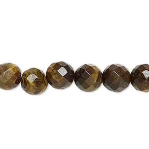 bead, tigereye (natural), 8mm faceted round, b grade, mohs hardness 7. sold per 16-inch strand.