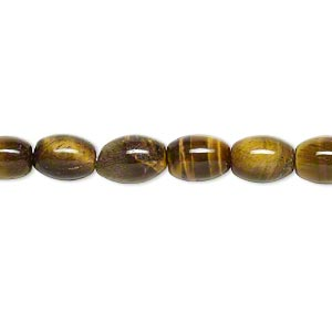 bead, tigereye (natural), 8x6mm oval, b grade, mohs hardness 7. sold per 16-inch strand.