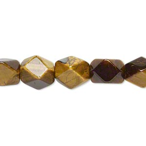 bead, tigereye (natural), medium to large faceted tumbled pebble with 0.7-0.8mm hole, mohs hardness 7. sold per 16-inch strand.