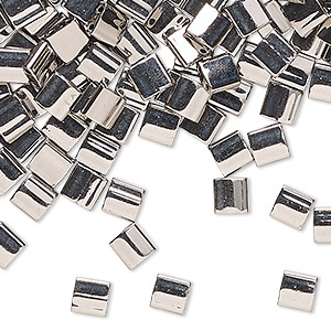 bead, tila, glass, metallic nickel finish, (tl190), 5mm square with (2) 0.8mm holes. sold per 250-gram pkg.