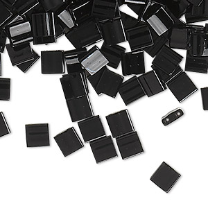 bead, tila, glass, opaque black, (tl401), 5mm square with (2) 0.8mm holes. sold per 40-gram pkg.