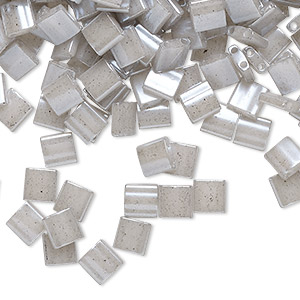 bead, tila, glass, opaque ceylon light grey, (tl526), 5mm square with (2) 0.8mm holes. sold per 250-gram pkg.
