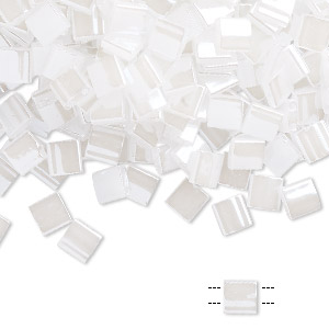 bead, tila, glass, opaque ceylon pearl white, (tl511), 5mm square with (2) 0.8mm holes. sold per 40-gram pkg.