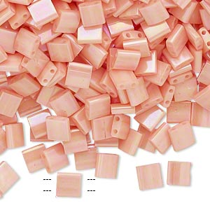 bead, tila, glass, opaque luster rainbow light peach, (tl596), 5mm square with (2) 0.8mm holes. sold per 40-gram pkg.