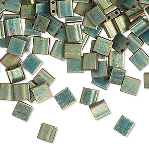 bead, tila, glass, opaque matte metallic patina iris green, (tl2008), 5mm square with (2) 0.8mm holes. sold per 250-gram pkg.