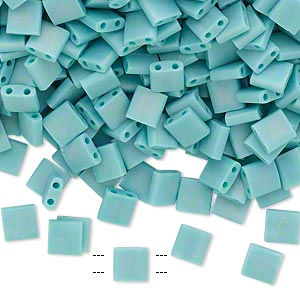 bead, tila, glass, opaque matte rainbow mint green, (tl412fr), 5mm square with (2) 0.8mm holes. sold per 10-gram pkg.