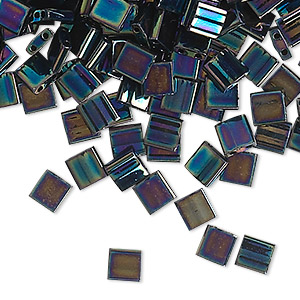 bead, tila, glass, opaque metallic iris blue, (tl455), 5mm square with (2) 0.8mm holes. sold per 250-gram pkg.