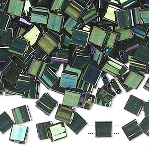 bead, tila, glass, opaque metallic malachite green, (tl468), 5mm square with (2) 0.8mm holes. sold per 10-gram pkg.