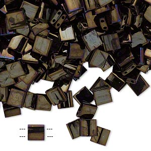 bead, tila, glass, opaque metallic rainbow dark olive, (tl458), 5mm square with (2) 0.8mm holes. sold per 10-gram pkg.