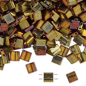 bead, tila, glass, opaque metallic rainbow golden, (tl462), 5mm square with (2) 0.8mm holes. sold per 40-gram pkg.