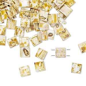 bead, tila, glass, opaque picasso antique white, (tl4512), 5mm square with (2) 0.8mm holes. sold per 250-gram pkg.