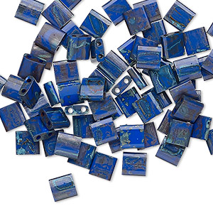 bead, tila, glass, opaque picasso cobalt, (tl4518), 5mm square with (2) 0.8mm holes. sold per 40-gram pkg.
