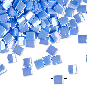 bead, tila, glass, opaque rainbow hydrangea, (tl483), 5mm square with (2) 0.8mm holes. sold per 10-gram pkg.