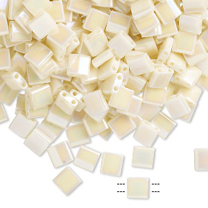 bead, tila, glass, opaque rainbow ivory, (tl486), 5mm square with (2) 0.8mm holes. sold per 10-gram pkg.