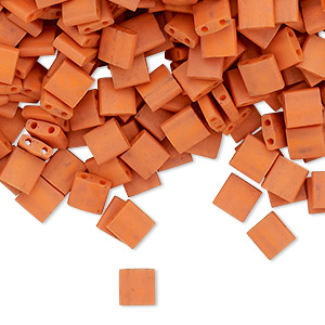 bead, tila, glass, opaque satin matte dark orange, (tl2315), 5mm square with (2) 0.8mm holes. sold per 40-gram pkg.