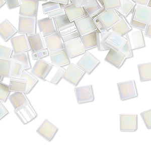 bead, tila, glass, opaque white pearl ab, (tl471), 5mm square with (2) 0.8mm holes. sold per 10-gram pkg.