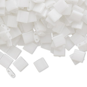 bead, tila, glass, opaque white, (tl402), 5mm square with (2) 0.8mm holes. sold per 10-gram pkg.