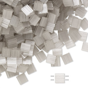 bead, tila, glass, translucent silk luster grey, (tl2598), 5mm square with (2) 0.8mm holes. sold per 10-gram pkg.