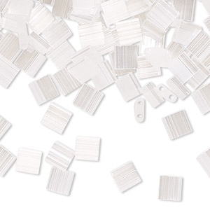 bead, tila, glass, translucent silk luster white pearl, (tl2548), 5mm square with (2) 0.8mm holes. sold per 10-gram pkg.