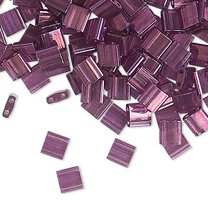 bead, tila, glass, transparent luster light amethyst gold, (tl316), 5mm square with (2) 0.8mm holes. sold per 10-gram pkg.