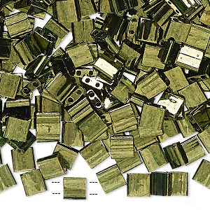 bead, tila, glass, transparent luster olive green, (tl306), 5mm square with (2) 0.8mm holes. sold per 40-gram pkg.