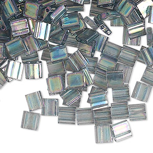 bead, tila, glass, transparent luster rainbow dark grey, (tl2440d), 5mm square with (2) 0.8mm holes. sold per 10-gram pkg.