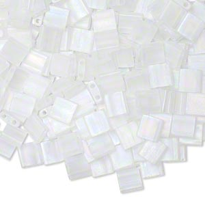 bead, tila, glass, transparent matte crystal ab, (tl131fr), 5mm square with (2) 0.8mm holes. sold per 40-gram pkg.
