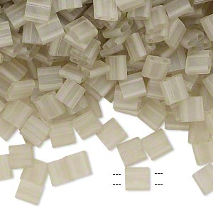 bead, tila, glass, transparent matte luster oyster, (tl3173), 5mm square with (2) 0.8mm holes. sold per 250-gram pkg.
