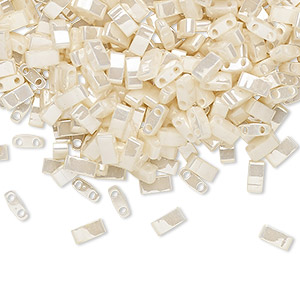 bead, tila, half tila, glass, opaque ceylon antique ivory pearl, (htl592), 5x2.3mm rectangle with (2) 0.8mm holes. sold per 40-gram pkg.