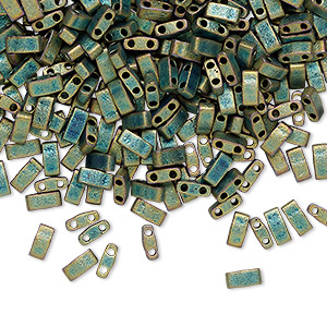 bead, tila, half tila, glass, opaque matte metallic patina iris, (htl2008), 5x2.3mm rectangle with (2) 0.8mm holes. sold per 10-gram pkg.
