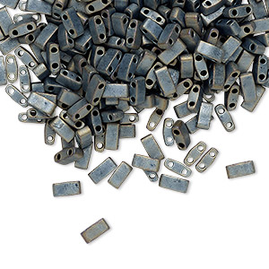 bead, tila, half tila, glass, opaque matte metallic silver grey, (htl2002), 5x2.3mm rectangle with (2) 0.8mm holes. sold per 40-gram pkg.