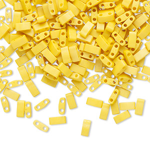 bead, tila, half tila, glass, opaque matte satin rich yellow, (htl2311), 5x2.3mm rectangle with (2) 0.8mm holes. sold per 10-gram pkg.