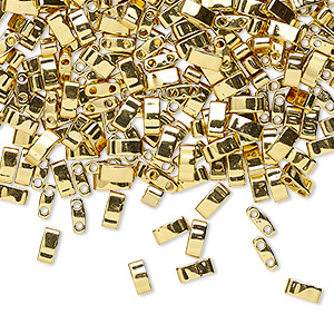 bead, tila, half tila, glass, opaque metallic 24kt gold finish, (htl191), 5x2.3mm rectangle with (2) 0.8mm holes. sold per 250-gram pkg.