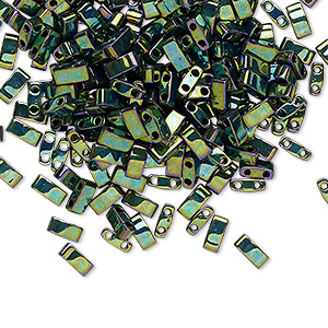 bead, tila, half tila, glass, opaque metallic malachite green, (htl468), 5x2.3mm rectangle with (2) 0.8mm holes. sold per 10-gram pkg.