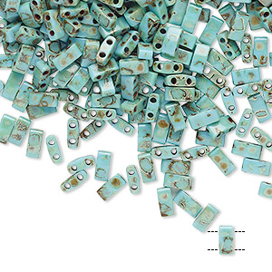bead, tila, half tila, glass, opaque picasso antique turquoise blue, (htl4514), 5x2.3mm rectangle with (2) 0.8mm holes. sold per 250-gram pkg.