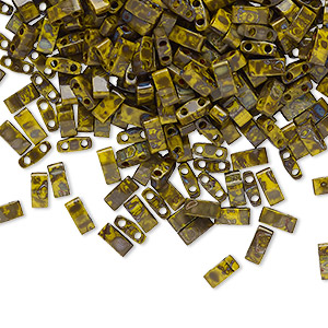 bead, tila, half tila, glass, opaque picasso mustard, (htl4519), 5x2.3mm rectangle with (2) 0.8mm holes. sold per 250-gram pkg.