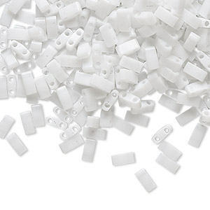 bead, tila, half tila, glass, opaque white, (htl402), 5x2.3mm rectangle with (2) 0.8mm holes. sold per 10-gram pkg.