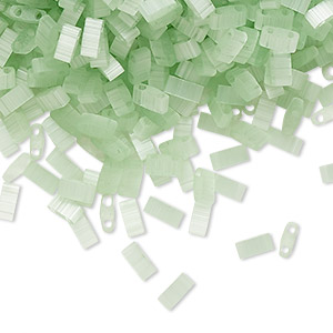 bead, tila, half tila, glass, translucent silk luster mint green, (htl2559), 5x2.3mm rectangle with (2) 0.8mm holes. sold per 10-gram pkg.