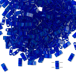 bead, tila, half tila, glass, transparent blueberry, (htl151), 5x2.3mm rectangle with (2) 0.8mm holes. sold per 10-gram pkg.