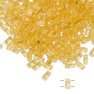 bead, tila, half tila, glass, transparent light lemon, (htl132), 5x2.3mm rectangle with (2) 0.8mm holes. sold per 10-gram pkg.
