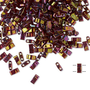 bead, tila, half tila, glass, transparent luster rainbow dark topaz gold, (htl301), 5x2.3mm rectangle with (2) 0.8mm holes. sold per 40-gram pkg.