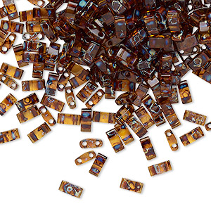 bead, tila, half tila, glass, transparent picasso amber brown, (htl4502), 5x2.3mm rectangle with (2) 0.8mm holes. sold per 40-gram pkg.
