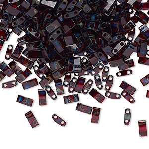 bead, tila, half tila, glass, transparent picasso red, (htl4504), 5x2.3mm rectangle with (2) 0.8mm holes. sold per 40-gram pkg.