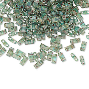 bead, tila, half tila, glass, transparent picasso turquoise blue, (htl4506), 5x2.3mm rectangle with (2) 0.8mm holes. sold per 10-gram pkg.
